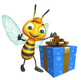 Cute Bee cartoon character with gift box Royalty Free Stock Image