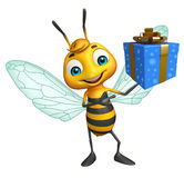 Cute Bee cartoon character with gift box Royalty Free Stock Photo
