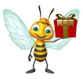 Cute Bee cartoon character with gift box Stock Photo