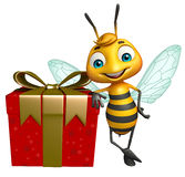 Cute Bee cartoon character with gift box Royalty Free Stock Photography