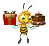 cute Bee cartoon character  with gift and cake Stock Photo