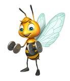 Cute Bee cartoon character with Gim equipment Stock Photos