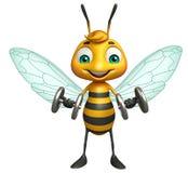 Cute Bee cartoon character with Gim equipment Stock Photography