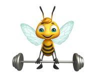 Cute Bee cartoon character with Gim equipment Royalty Free Stock Photos