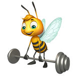 Cute Bee cartoon character with Gim equipment Royalty Free Stock Photography