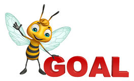 Cute Bee cartoon character with goal sign. 3d rendered illustration of Bee cartoon character with goal sign Royalty Free Stock Images