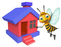 Cute Bee cartoon character with home Stock Photo