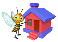 Cute Bee cartoon character with home Stock Image