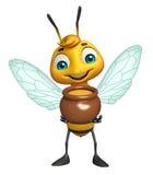 Cute Bee cartoon character with honey pot Royalty Free Stock Photo