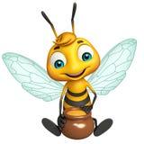Cute Bee cartoon character with honey pot Stock Photos