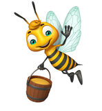 Cute Bee cartoon character with honey pot Royalty Free Stock Photos