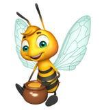 Cute Bee cartoon character with honey pot Stock Image