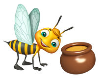 Cute Bee cartoon character with honey pot Royalty Free Stock Images