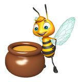 Cute Bee cartoon character with honey pot Stock Photo