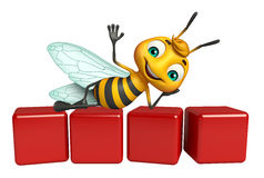 Cute Bee cartoon character with level. 3d rendered illustration of Bee cartoon character with level Stock Photos
