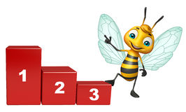 Cute Bee cartoon character with level. 3d rendered illustration of Bee cartoon character with level Stock Image