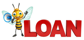Cute Bee cartoon character with loudseaker and loan sign Stock Photography