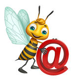 Cute Bee cartoon character with at the rate sign. 3d rendered illustration of Bee cartoon character with at the rate sign Stock Photos