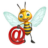 Cute Bee cartoon character with at the rate sign. 3d rendered illustration of Bee cartoon character with at the rate sign Stock Photo