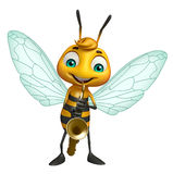 cute Bee cartoon character with saxophone Royalty Free Stock Images