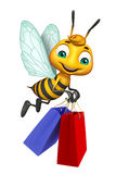Cute  Bee cartoon character with shopping bag. 3d rendered illustration of Bee cartoon character with shopping bag Royalty Free Stock Images