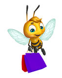 Cute  Bee cartoon character with shopping bag. 3d rendered illustration of Bee cartoon character with shopping bag Stock Image