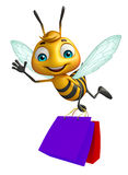 Cute  Bee cartoon character with shopping bag. 3d rendered illustration of Bee cartoon character with shopping bag Royalty Free Stock Photo