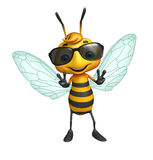 Cute Bee cartoon character with sunglass Royalty Free Stock Photo