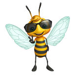 Cute Bee cartoon character with sunglass Stock Photos