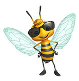 Cute Bee cartoon character with sunglass Stock Image