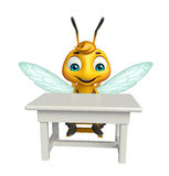 Cute Bee cartoon character with table and chair Royalty Free Stock Photography