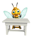 Cute Bee cartoon character with table and chair Royalty Free Stock Photos