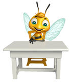 Cute Bee cartoon character with table and chair Royalty Free Stock Photo