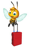 Cute Bee cartoon character with travel bag Royalty Free Stock Images