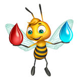 Cute Bee cartoon character with  water drop and blood drop. 3d rendered illustration of Bee cartoon character with  water drop and blood drop Stock Photo