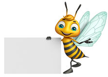 Cute Bee cartoon character with white board Royalty Free Stock Images