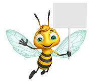 Cute Bee cartoon character with white board Royalty Free Stock Image