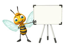 Cute Bee cartoon character with white board Stock Photography