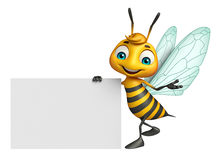 Cute Bee cartoon character with white board Stock Photo
