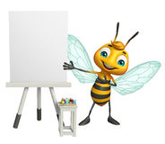 Cute Bee cartoon character with white board Stock Photos