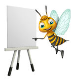 Cute Bee cartoon character with white board Royalty Free Stock Photo