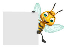 Cute Bee cartoon character with white board Stock Images