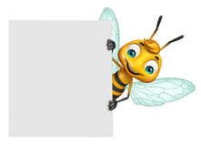 Cute Bee cartoon character with white board Royalty Free Stock Photos