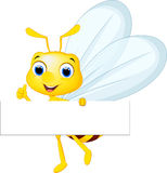 Cute bee cartoon flying while carrying flowers Royalty Free Stock Image