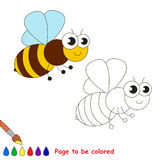 Cute bee cartoon. Page to be colored. stock illustration