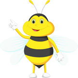 Cute bee cartoon pointing Stock Photography