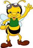 Cute bee cartoon waving Royalty Free Stock Image