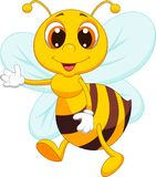 Cute bee cartoon waving Royalty Free Stock Photos