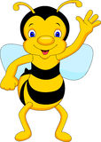 Cute bee cartoon waving Stock Photos