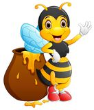 Cute bee cartoon waving Stock Image